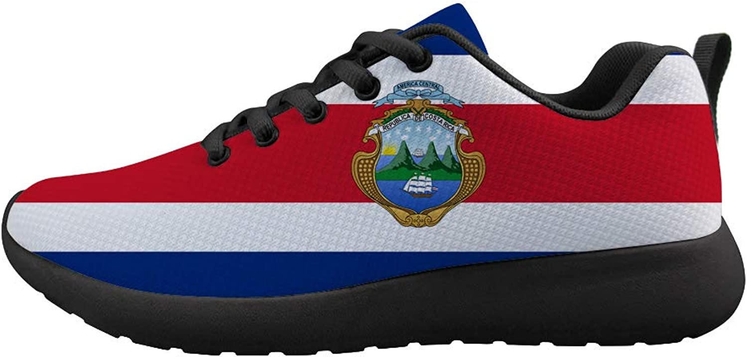 Owaheson Cushioning Sneaker Trail Running shoes Mens Womens Costa Rica Flag National Emblem