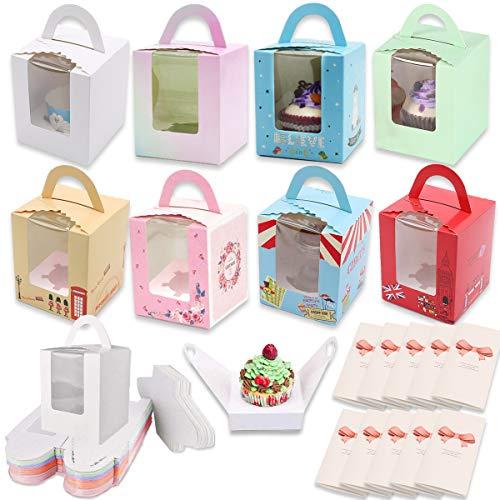 YWQ 24 Piezas Cajas para Pasteles con Ventana de Transparente,Unidades Single Cupcake Boxes,Cajas de Papel para Cupcake con Manija para Tartas,Rebanada Pastel y Postres