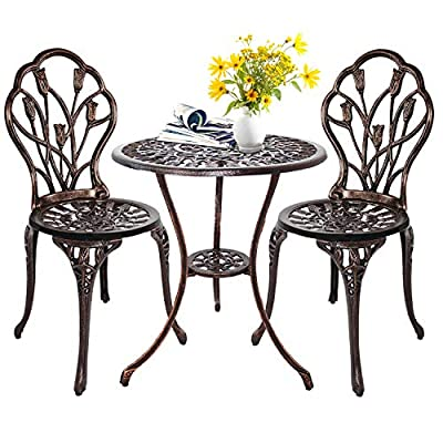 HOMEFUN Bistro Table Set, Outdoor Patio Set 3 Piece Table and Chairs, Tulip & Rose and Weather Resistant