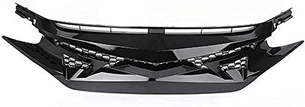 FWC Rejilla Delantera De Coche para Civic 10Th Gen Fk8 Type-R Style 2016-2020, Parachoques De Malla De Nido De Abeja Rejillas De Radiador Delantero Accesorios De Cubierta De Parrilla Máscara De P