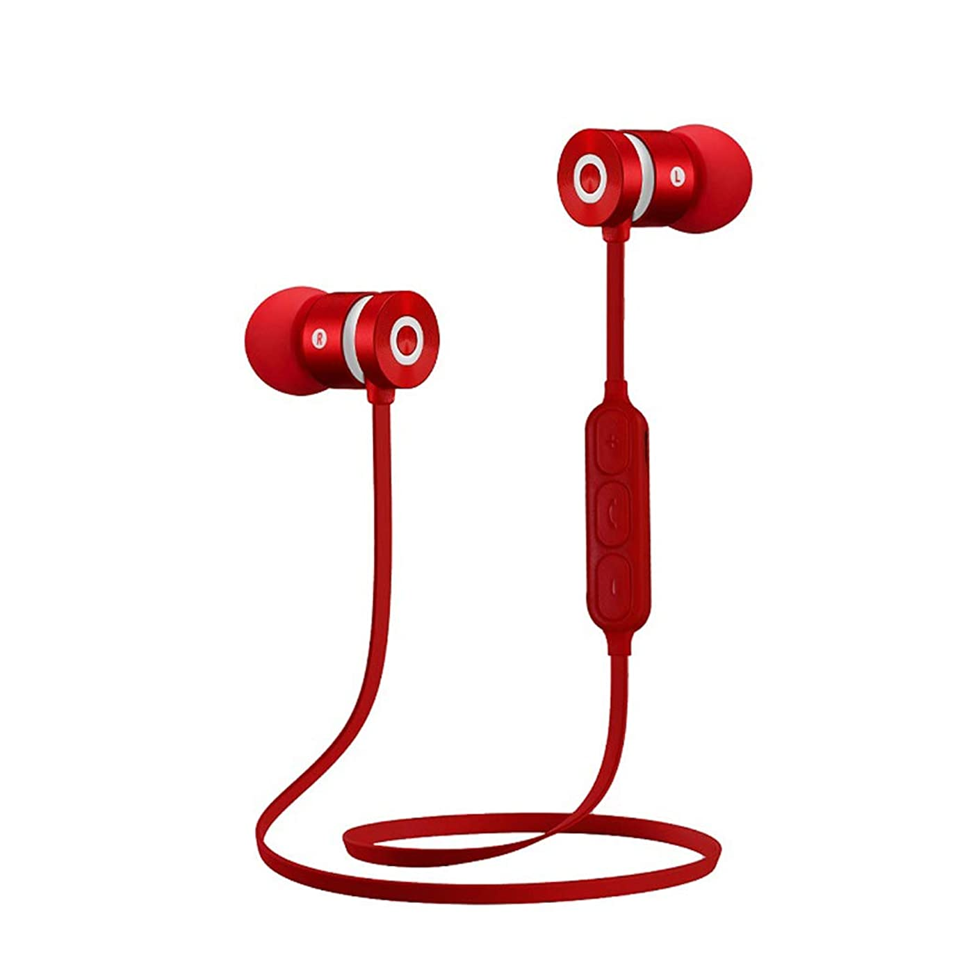 Bluetooth Headphones Waterproof Magnetic Wireless Earbuds Sport Wireless Sports Earphones Waterproof HD Stereo Sweatproof Earbuds for Gym Running Workout Noise Cancelling Headsets (Red)