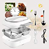 Electric Lunch Box - #Christmas Gifts# Toursion Dual Use Car Home Office Portable Food Heater deluxe edition with Removable 304 Stainless Steel Container 110V&12V(Free Spoon & Fork)
