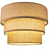 Bepsty Fabric Lamp Shade for Floor Lamp, Chandelier Pendant Light Replacement Linen Drum Lampshades Clip On 3-Tier Lampshade Cover with Natural Linen Handcrafted