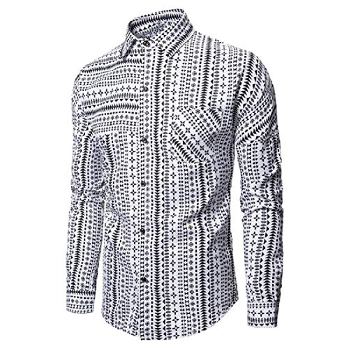 PvezTFi Heren Bloemen Gedrukt Relaxed-Fit Regular-Fit Slim Fitted Long-Sleeve Shirt