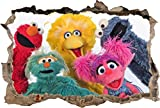Sesame Street Elmo Smashed Wall Decal Graphic Wall Sticker Art Mural H799, Mini