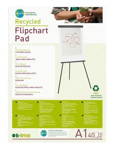 Bi-Office Earth-It flipchartblok van gerecycled papier, A1, blanco, 40 vellen, 55 g/m2