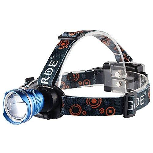 Foco Frontal Linterna LED GRDE Super Brillante Linterna Frontal 1800 Lúmenes Zoomable Linterna Frontal de Cabeza LED Para Caza, Pesca, Correr, Ciclismo, Camping, Trabajo de Noche y Más (Azul)