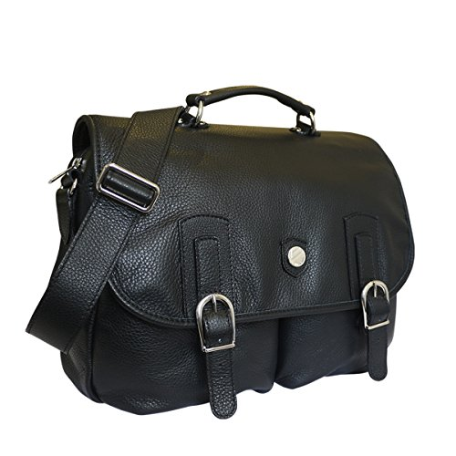 Bonfanti Genello italiana colgajo bolsa de cuero sobre el maletín (negro)