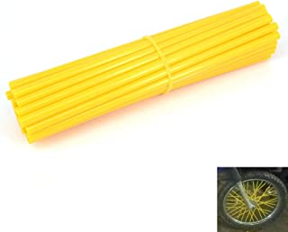72 Pcs Motorcycle Yellow Spoke Skins Covers Sleeves Wraps For 19