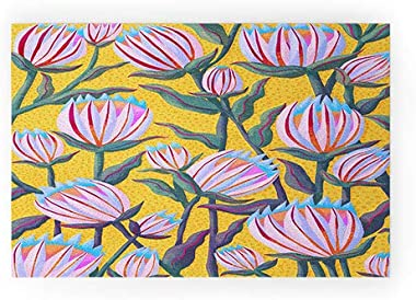 "Society6 Yellow Sewzinski Protea Flowers Welcome Mat, 30"" x 20"""