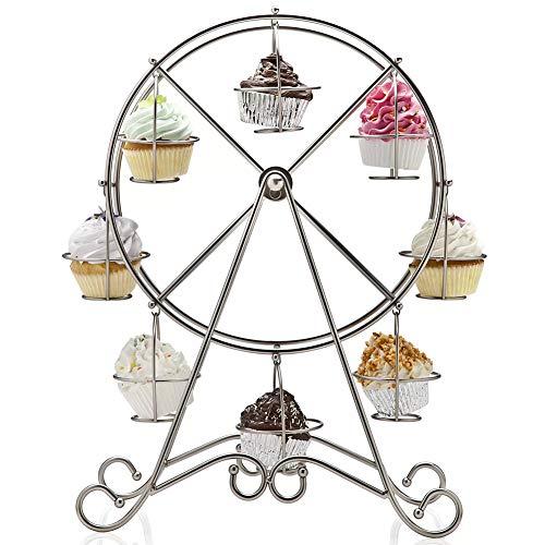 BAKAJI Alzata Stand Porta Cupcake Muffin Forma Ruota Panoramica 8 Posti in Metallo Alzatina Porta Dolci Silver