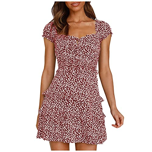 Minivestido feminino de verão, manga com babados, cintura alta, decote em U, vestido rodado, moderno, floral, plissado, Vinho, XXG