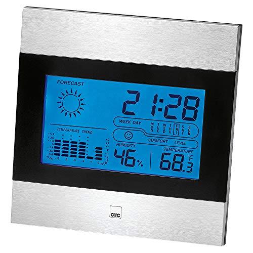CTC WSU 7023 multifunctioneel weerstation met klok en LCD-display (verlichte), stand- en wandmontage mogelijk zwart/aluminium