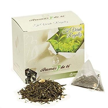 Aromas de Té - Té Verde de Regaliz con Trozos de Regaliz - Aromas Naturales, Regaliz y Té Verde - en Bolsitas - Infusión Natural - Propiedades Digestivas y Energizantes - 20 Pirámides