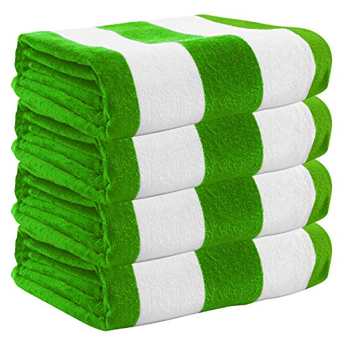 """Exclusivo Mezcla 4 Pack 100% Cotton Oversized Large Beach Towel,Pool Towel (Cabana Stripe,Green 35""""x70"""")—Soft, Quick Dry, Lightweight, Absorbent, and Plush"""