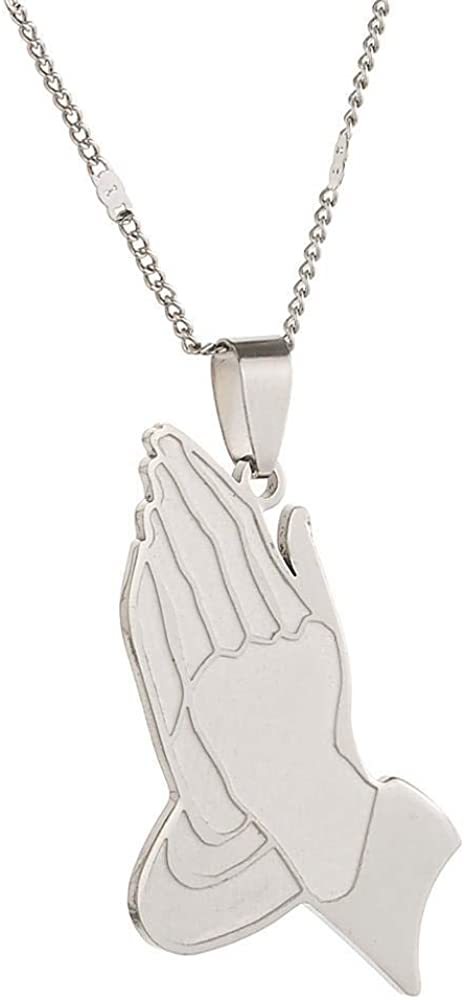 The Praying Hands Pendants Necklaces Hip Hop Stainless Steel Chain Praying Hands Jewelry