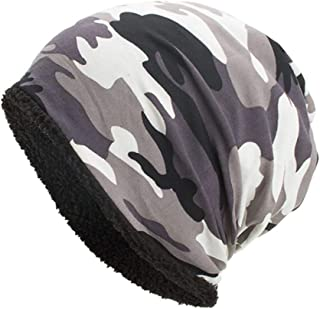 URIBAKE Women Men Warm Baggy Camouflage Crochet Winter Wool Ski Beanie Skull Caps Hat