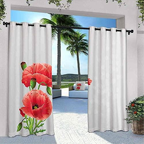 Poppy - Cortinas para patio al aire libre, pétalos y brotes de inflorescencia romántica para novia, para casa de campo, cenador de campo, pasillo de 108 x 84 pulgadas, color verde verdoso gris pálido