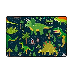 ALAZA 80×58 inch Large Soft Nursery Rug Play Mat for Kids Room Green Dinosaurs