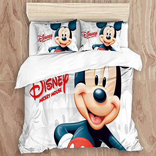 Wincosnd AIMAIZUI Duvet Cover Set,Mi-ck-ey Mouse and Don-ald Du-ck 22Decorative 3 Piece Bedding Set with 2 Pillow Shams, Queen Size