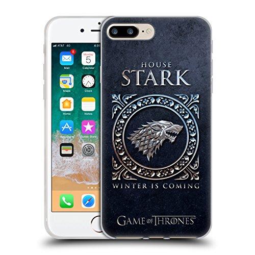 Head Case Designs Licenza Ufficiale HBO Game of Thrones Stark Sigillo Metallico Cover in Morbido Gel Compatibile con Apple iPhone 7 Plus/iPhone 8 Plus