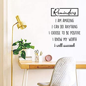 Vinyl Wall Art Decal - Reminders I Am Amazing I Can Do Anything - 30  x 23  - Trendy Inspirational Quote for Home Bedroom Living Room Office Work School Decoration Sticker  Black