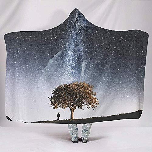 Nat Abra Magische Baum des Lebens Milchwal Decken Kreative Kuschelig Warme Plüsch Sherpa Hood Poncho Mantel Cape Teens Nickerchen Sofa