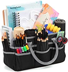 Jjring Craft and Art Organizer Tote Bag - 600D Silver Nylon Fabric Art Caddy with Pockets - for Art, Craft, Sewing, Medical, and Office Supplies Storage