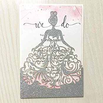 FASTERCY 1PCS Silver Laser Cut Princess Dream Invitations Cards For Birthday Sweet 15 Quinceañera Party Invites Wedding Bridal Shower Engagement  Silver Glitter