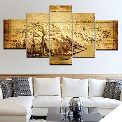FHSFFS Leinwanddrucke 5 Panel/Stück Hd Print Das Boot Karte Mit Segeln Wand Poster Leinwand Kunst Malerei Für Zuhause Wohnzimmer Dekoration Drucke auf Leinwand