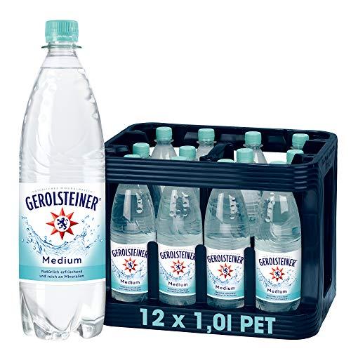 Gerolsteiner Medium – Natürliches Mineralwasser mit wenig Kohlensäure und wertvollem Calcium und Magnesium – 12 x 1 L PET Mehrweg Flaschen