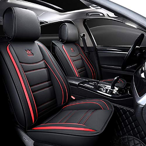 red and black seat covers leather - 2