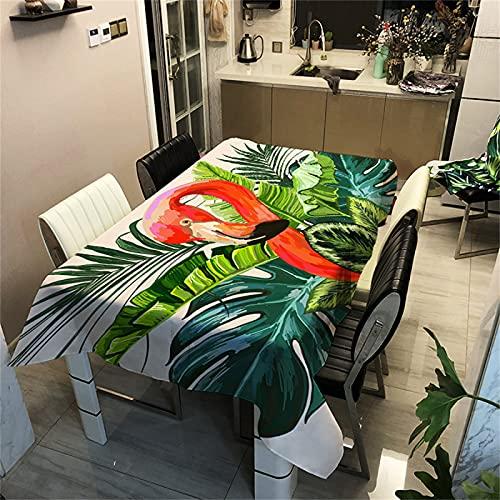 CCBAO Planta De La Selva Tropical Patrón De Pájaro Rojo-Mantel De Poliéster Rectangular Impermeable-Mantel Cuadrado-Adecuado para Mesa De Café-Decoración De Sala De Estar-Cocina 90x90cm