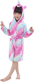 UsHigh Kids Bathrobe Soft Plush Unicorn Robe Warm Hooded Nightgown Unisex Gifts