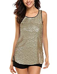 Gold #1 Sleeveless Shimmer Camisole Vest Sequin Tank Top