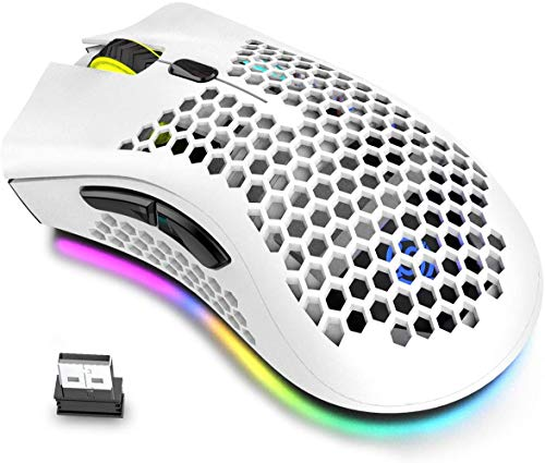 Wireless Lightweight Gaming Mouse Rechargeable Ultralight Honeycomb Mice with RGB Chroma Backlit, Adjustable DPI,2.4G Wireless Ergonomic Optical Sensor Mouse Compatible for PC Mac Gamer (White)