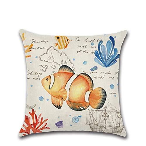 Linen Series Z-985 - Funda de almohada de lino para sofá, decoración de medusas de tortuga