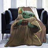 Ives Jean Sofá Manta mullida Cama Throw The Mandalorian Baby Yoda Manta Throw Franela Súper Suave y cómodo Terciopelo difuso Cálido vellón antipilling, Felpa cálida Microfibra 80'x 60'