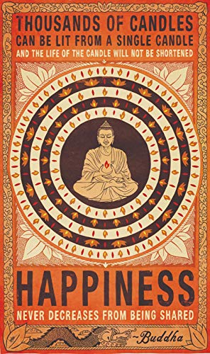 Christ-EZ Thousands of Candles Buddha Happiness Quote Motivational Cool Wall Decor Art Print Poster - Matte Poster Frameless Gift 12 x 18 inch(30cm x 46cm)-S-GZ044