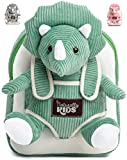 Green Dinosaur Backpack Dinosaur Toys for Kids 3-5 - Dinosaur Toys for 3 4 5 6 7 Year Old Girls Birthday Gift - Toddler Backpack for Boys Girls - Triceratops Toy Dinosaur Plush Stuffed Animal Backpack