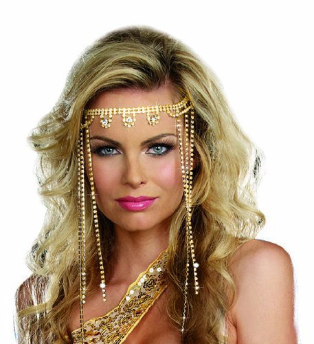 Dreamgirl Women's Shimmer Rhinestone Headpiece, Gold, One Size