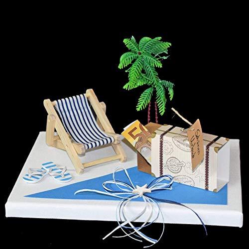 Geld Geschenk Reise mit Liegestuhl und Flip Flops