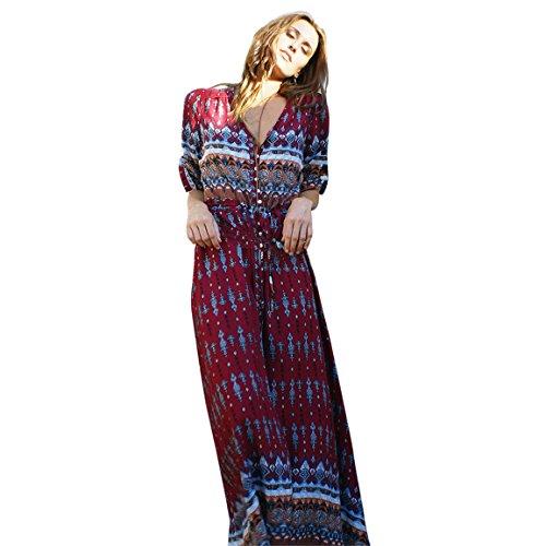 Moonuy Frauen halbe Hülse Kleid 2018 Sommer böhmischen Tunika Floral Party Casual Strand Lange V-Ausschnitt Maxi Kleid Knöchel-Länge Strand Sommerkleid (EU 36 / Asien M, Wein)