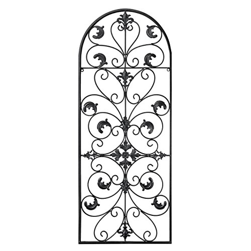 gb Home Collection Metal Wall Decor, Decorative Victorian Style Hanging Art, Steel Decor, Window Arch Design, 16.5 x 41.5 Inches, Black