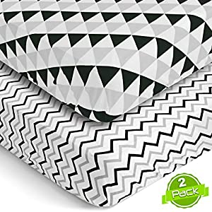 BaeBae Goods Fitted Baby Crib Sheets for Boys and Girls, 3 Pack, Soft and Breathable Jersey Cotton, Black and Gray, Cute Gender Neutral Nursery Mattress Bedding, Universal Fit