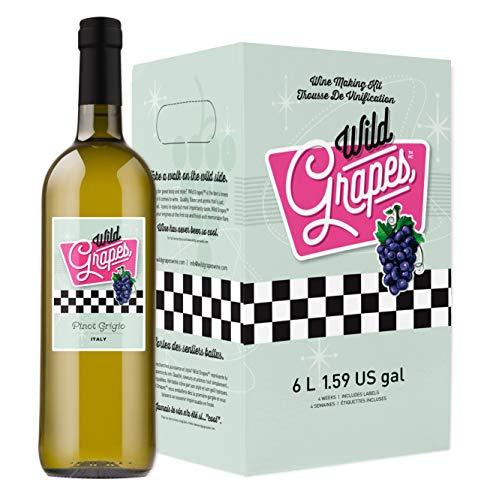 Wild Grapes, Premium DIY Wine Making Kits, Italian Pinot Grigio, 6L, Makes Up to 30 Bottles/6 Gallons of Wine