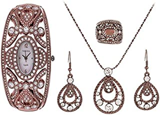 Charles Delon Exquisite Women's Mother of Pearl Dial Stainless Steel Band Watch & Jewelry Set - 4759 LNMW-18