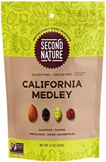 Second Nature California Medley Trail Mix - Healthy Nuts Snack Blend, Gluten Free - 12 oz Resealable Pouch (Pack of 6)
