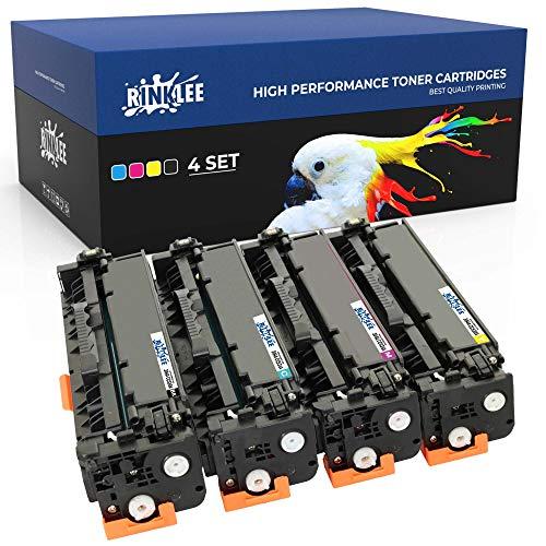 RINKLEE Tonerkartusche Ersatz kompatibel für HP Laserjet CM2320 CM2320nf CM2320fxi CP2025 CP2025dn Canon LBP7200Cdn LBP7210Cdn LBP7680Cx LBP7660Cdn | hohe Reichweite 3500/2800 Seiten | 4er-Pack