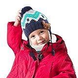 JTENG Bambino Cappello Sciarpe Autunno Invernale Carina Piccolo Volpe Beanie Cappelli Berretto Bambini Infantili del Cappello per 1-12 Anni Bambino Set di Sciarpe per Berretti (Blu, M)